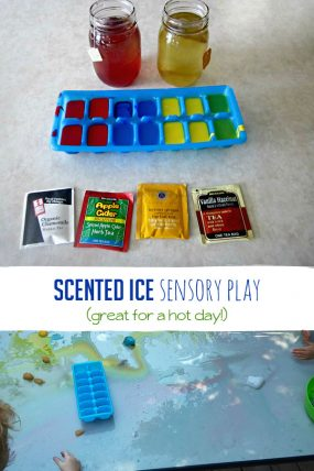 Sensory play in more ways than one -- scented sensory ice!