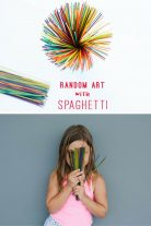 Make spaghetti art with kids.