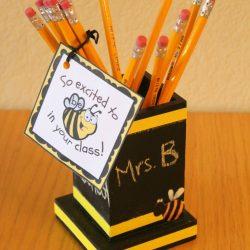 Chalkboard pencil holder teacher gift