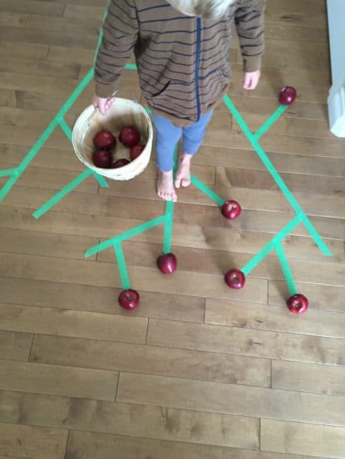 gross motor painters tape apple tree picking