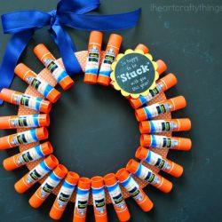 Glue stick wreath gift for teachers