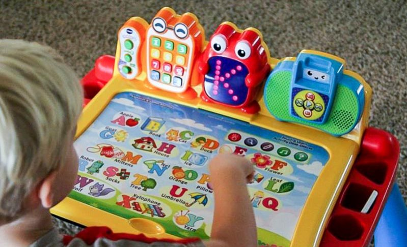 The Vtech Touch and Learn Activity Desk Deluxe™ is a favorite for my kids to play with. It offers such vast curriculum options for hours of fun as my kids create, discover, and learn.