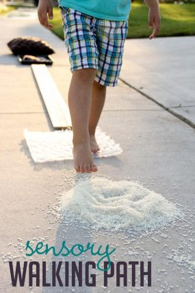 Make a sensory walking path to feel with your feet (and paint in the end!)