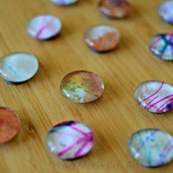 Recycled art magnets teacher gift