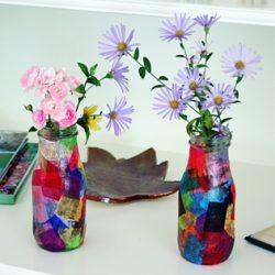 Tissue paper vases teacher gift