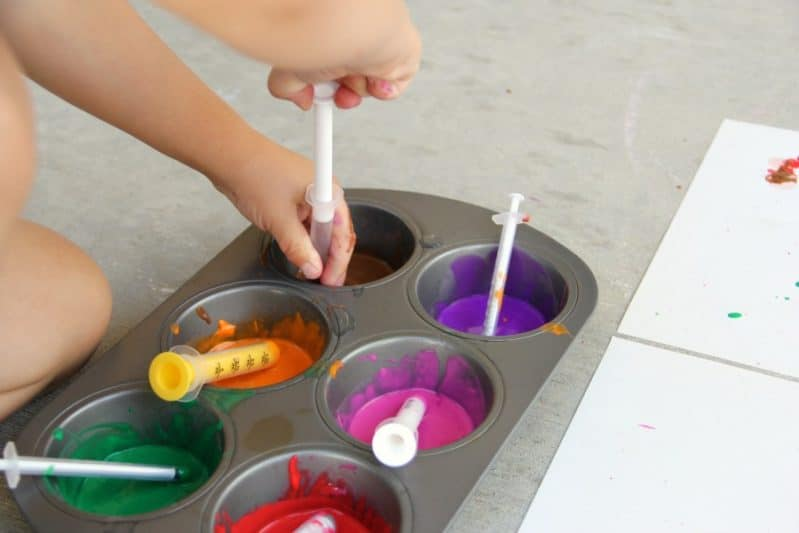What a fun, active way to make art -- syringe painting!