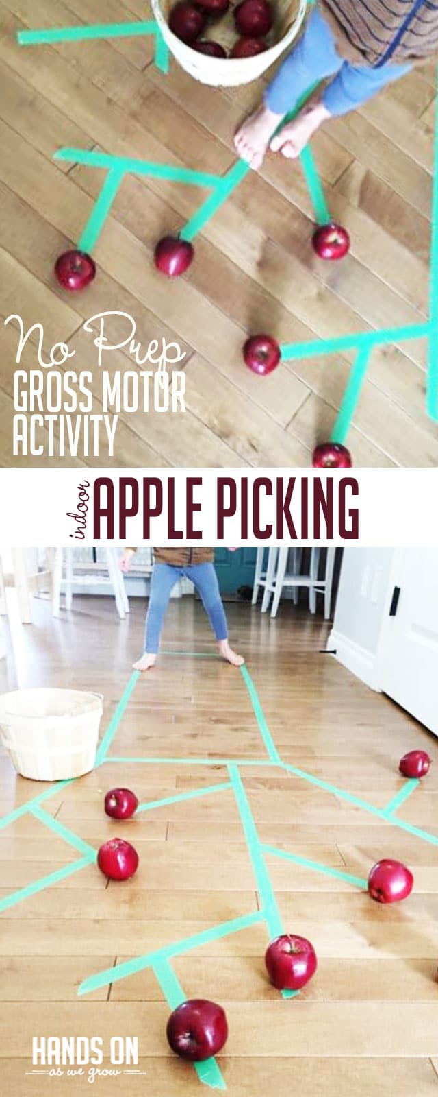 Apple tree picking activity that's great for gross motor skills