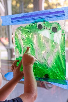 An edible version of the slimy eyes sensory bag for toddlers!