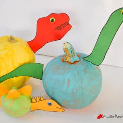 No Carve Dinosaur Pumpkins