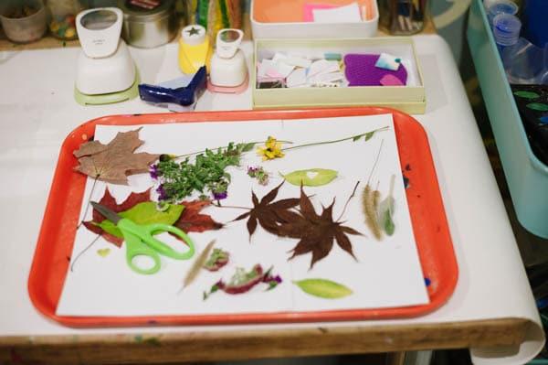 Make a colorful fall leaf suncatcher collage
