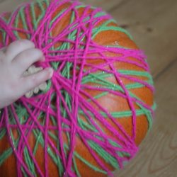 Yarn and Ribbon Wrapped Pumpkins