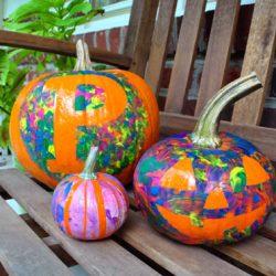 Tape Resist Pumpkin Decorating