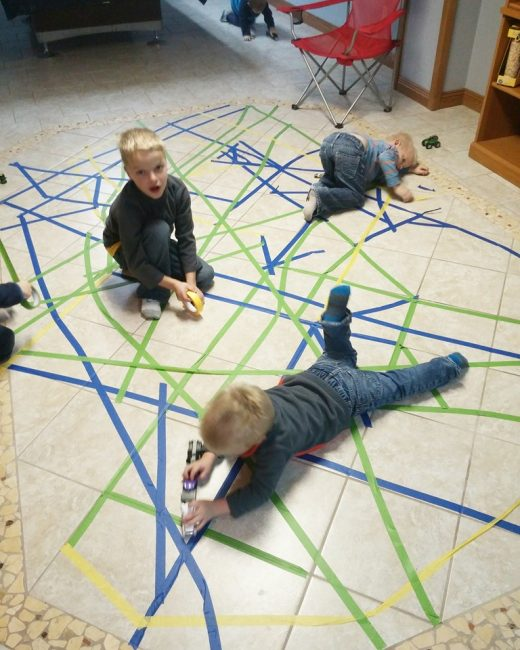 Take a roll of tape to Grandma's house to keep the kids busy!