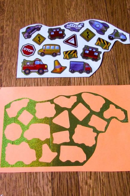 Make a quick sticker puzzle to help your child with fine motor skills.