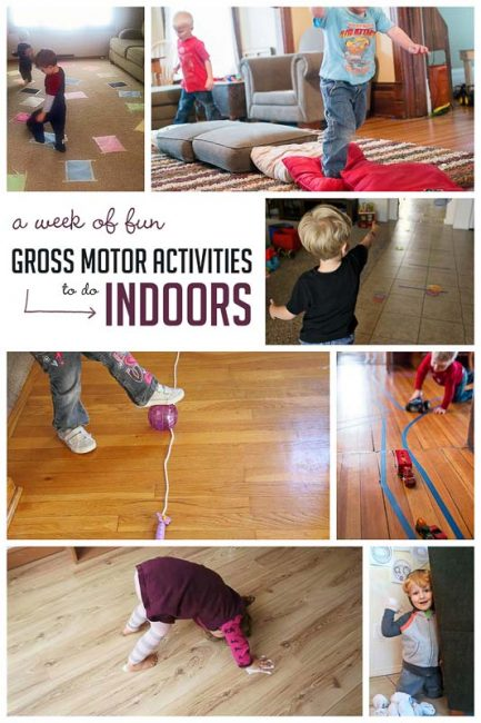 a week of indoor gross motor activities to get the kids moving when you're stuck inside.