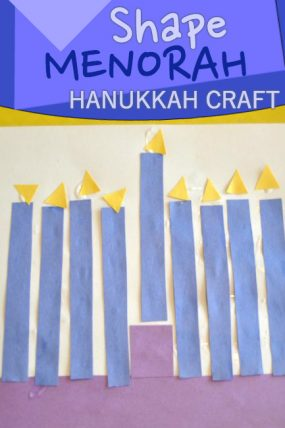 Build a menorah Hanukkah craft with simple shapes!