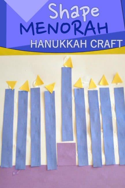 Build a menorah Hanukkah craft with simple shapes!