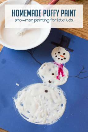 Magic Homemade Puffy Paint to Make a Snowman