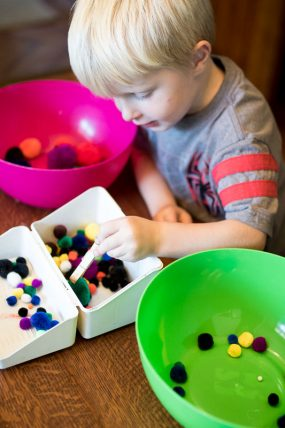 This simple sorting activity is an easy way to entertain the kids in a pinch!