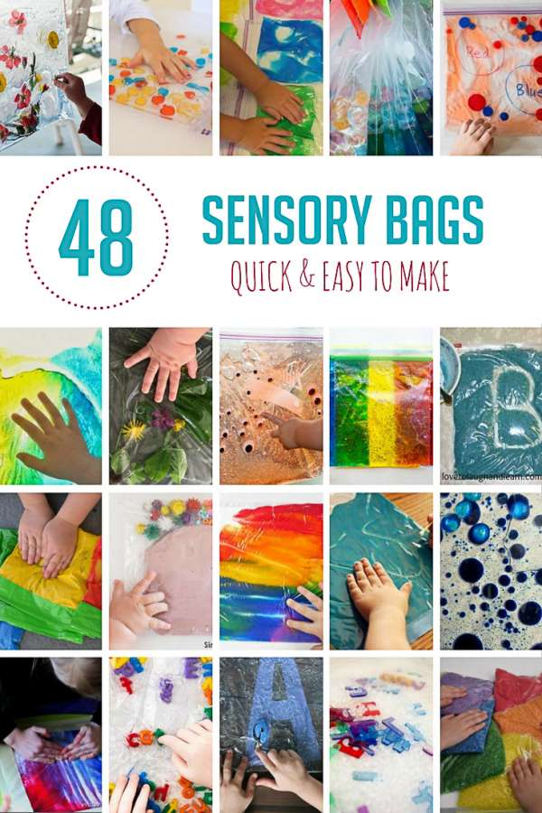 Sensory bags the perfect way for young kids to explore safely. They can also be a tool for kids to learn colors, math, and words!