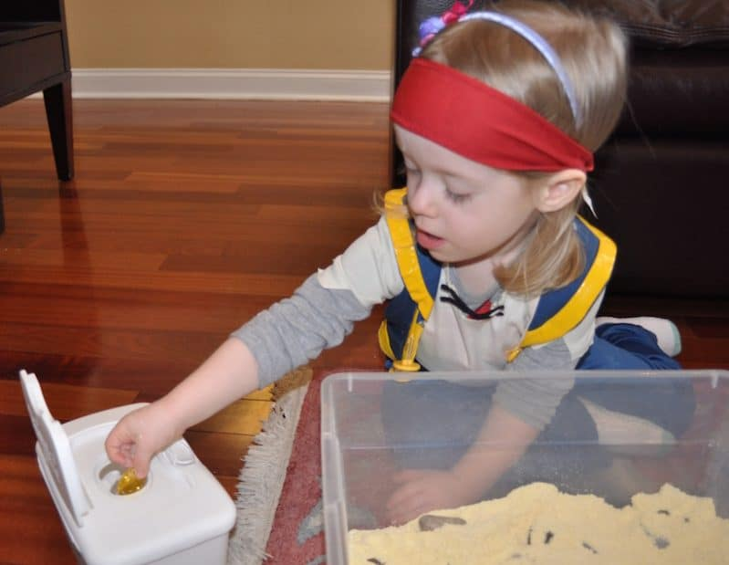 Treasure Hunt Sensory Bin is a fun way to get counting practice!