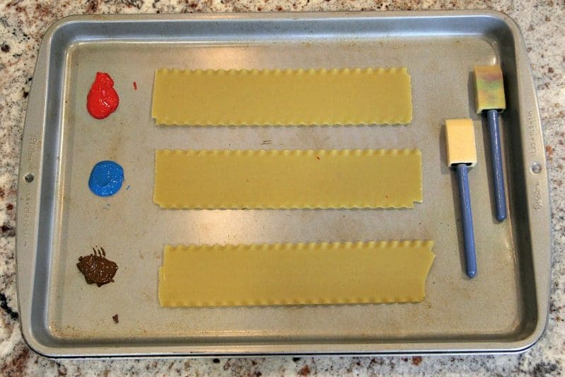Lasagna Noodle Painting is such a fun way to get wacky with your preschooler's painting!