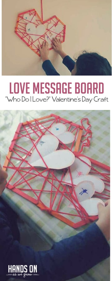 This fun craft for Valentine's Day helps preschoolers think about who they love most!