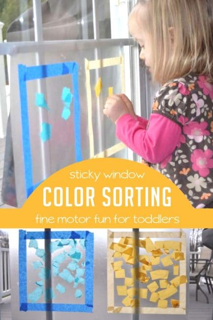 Sticky window color sorting activity for toddlers hands for Painting ideas for 4 year olds