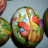 Napkin Decoupaged Eggs