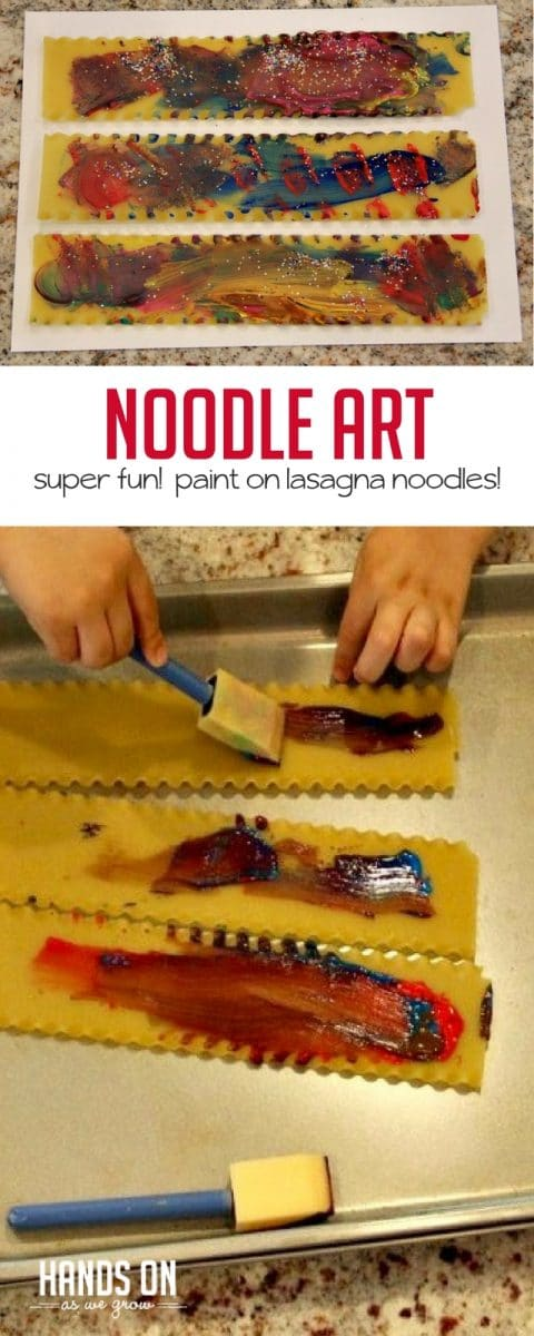 You may never look at lasagna noodles the same again! This lasagna noodle painting is a fun and creative way to use a new painting medium with preschoolers.