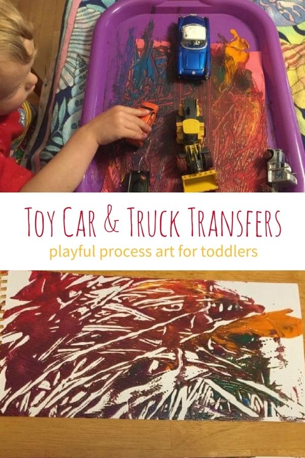 truck tracks transfer  process art for toddlers