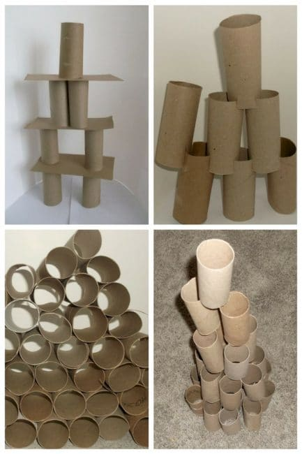 Tower building without blocks - use toilet paper rolls.