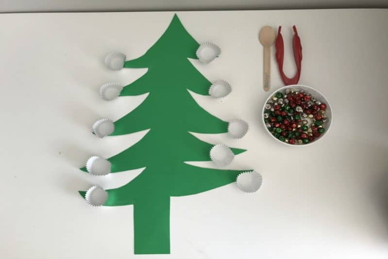 fine motor christmas tree transfter activity