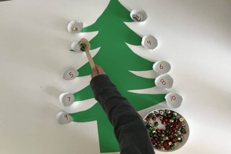 fine motor christmas tree transfer number recognition