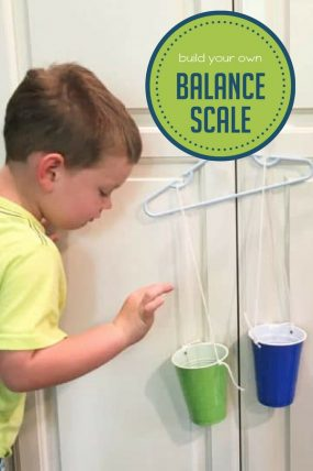 Build an easy balance scale for preschoolers to explore weights!