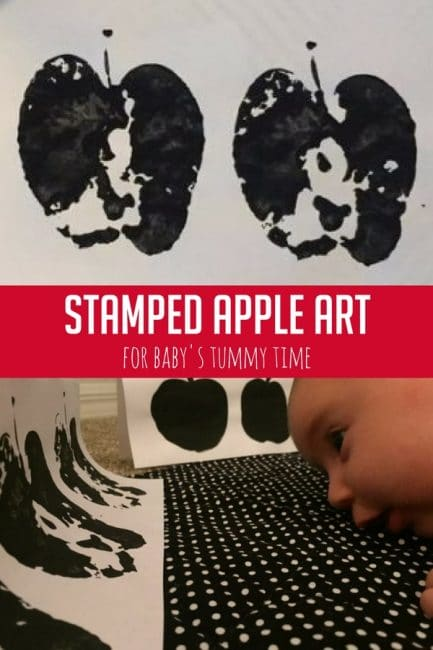 This high contrast stamped apple art is such an easy way to engage your baby during daily tummy time!