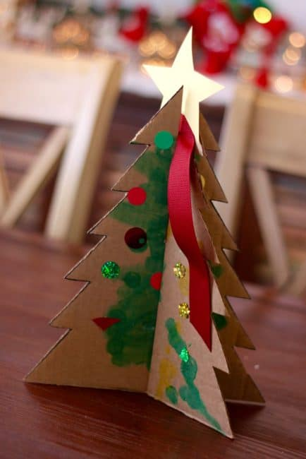 let your kids help decorate for christmas with this easy tabletop tree activity