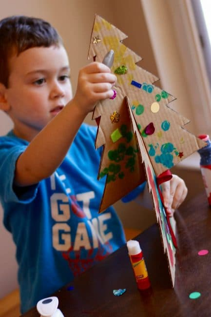 Practice motor skills while you decorate your easy tabletop Christmas tree.