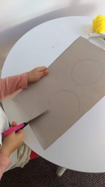 Practice cutting and tracing skills with your DIY hand drum activity
