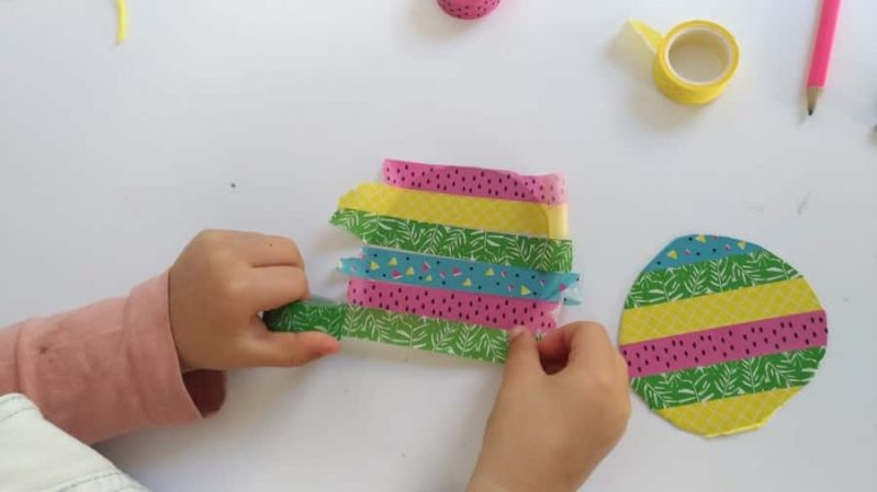 Decorate your DIY hand drum using fun colored tape