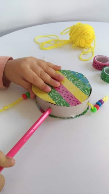 Attach a handle to your DIY hand drum