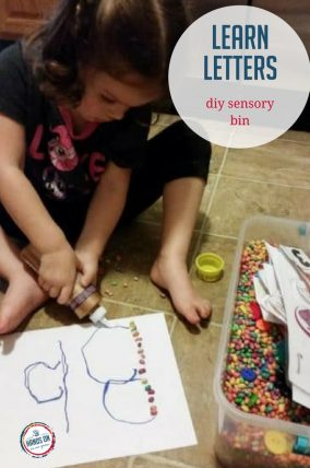 Help your child learn letters with fun interactive activities in a DIY sensory bin