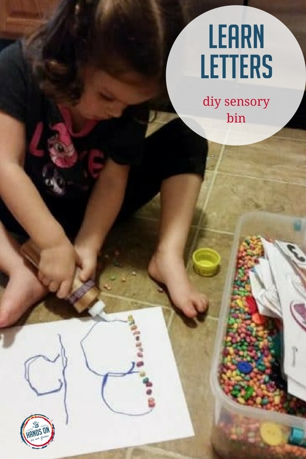 Your preschooler will learn letters through fun activities and books with a DIY sensory bin, shared by Activity Room Member Heather.