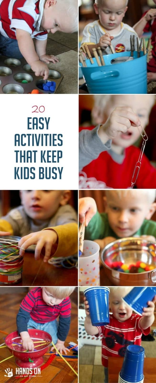 Keep your child busy and engaged with these 20 easy activities using materials you probably already have at home. Set up is super simple, too!