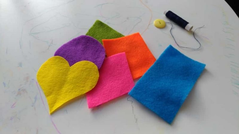 Felt pieces pull double duty to teach shapes and colors