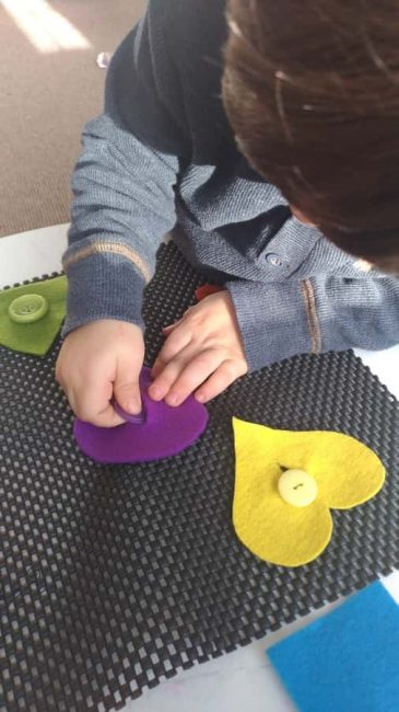 Practice fine motor skills with the color matching mat, too