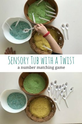 Practice number recognition and matching with a sensory tub with a twist