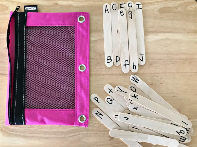 A super simple busy bag to practice alphabetic ordering and matching.
