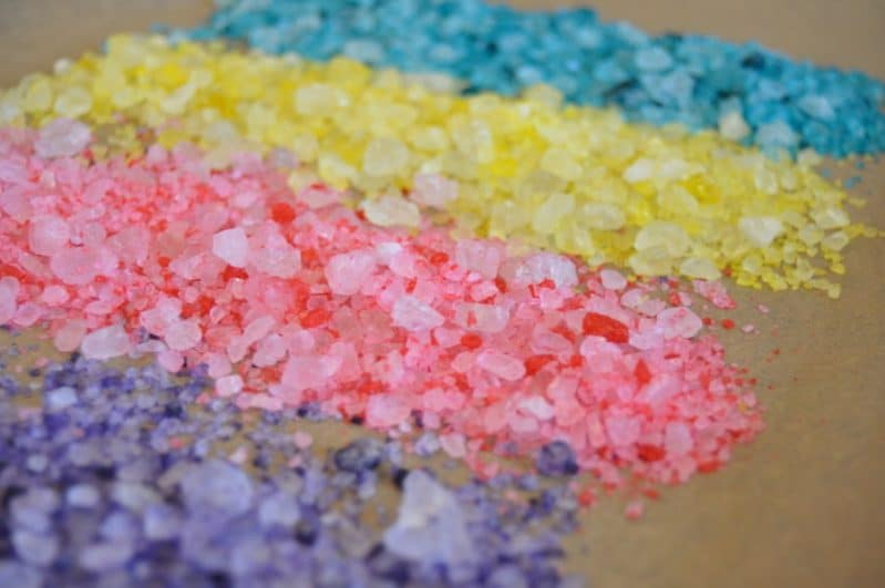 Enjoy hours of independent sensory play with DIY rainbow salt!