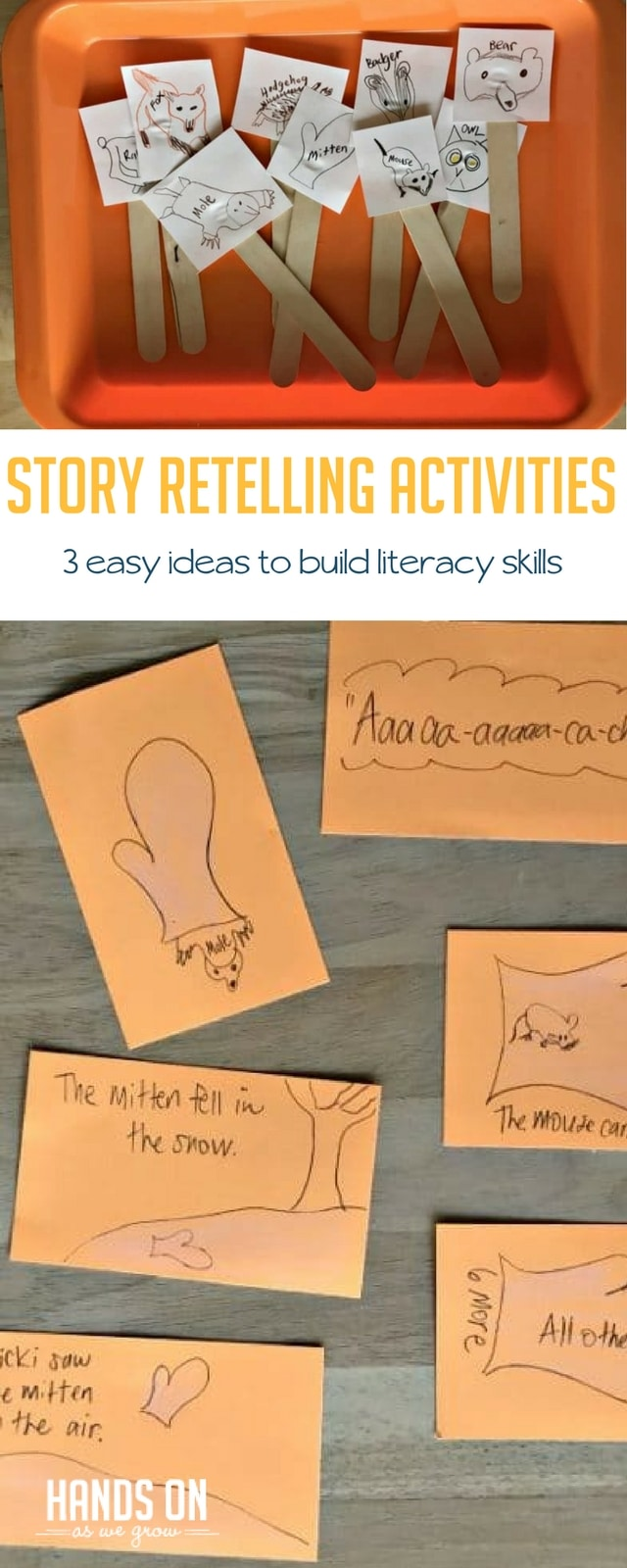 Build early literacy and reading comprehension skills with three super easy story retelling activities.